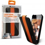Carefully hand-made protective leather case (Black/Orange), screen protector included
